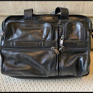 Tumi black leather laptop bag